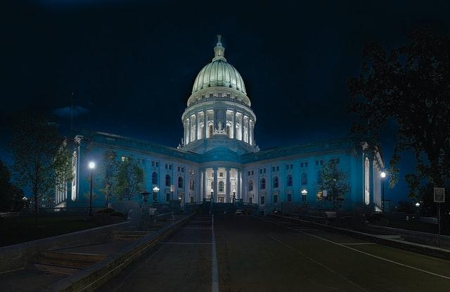 night photo of white house