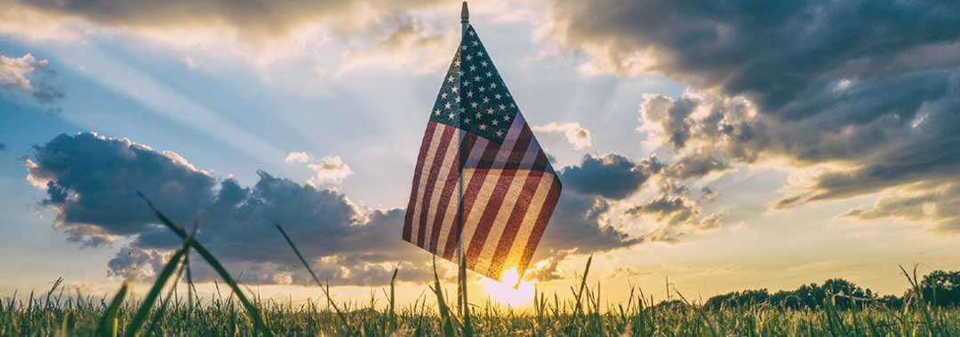 American Flag in Sunset
