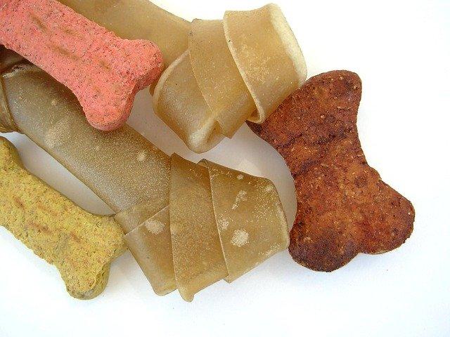 Dog treats and rawhide bone